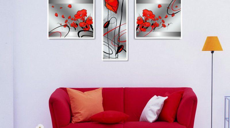 красный диван и торшер