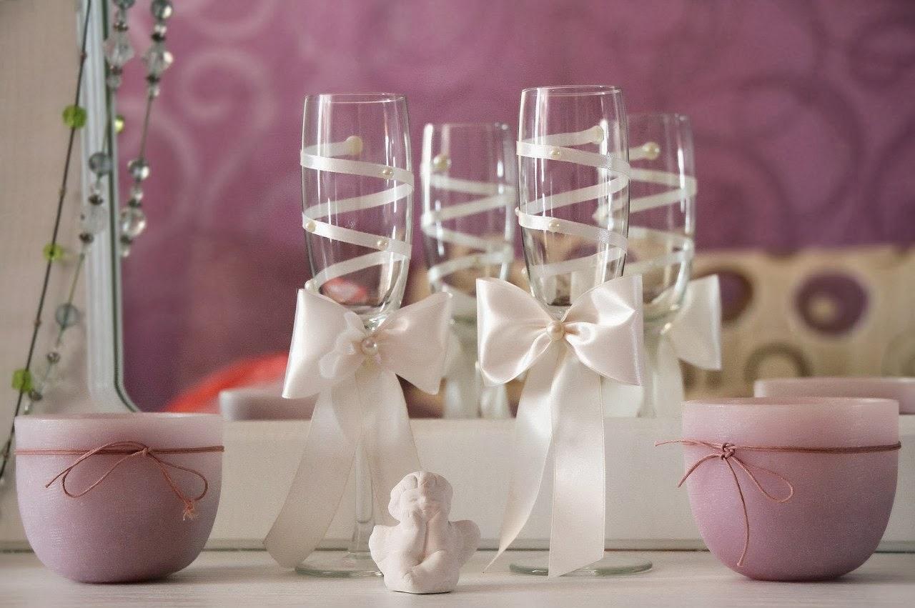 Как оформить бокалы на свадьбу своими руками красный