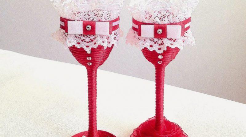бокалы с кружевом
