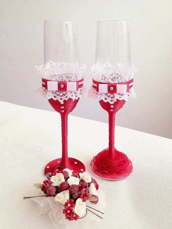 Бокалы на свадьбу в красно-белом цвете своими руками 83