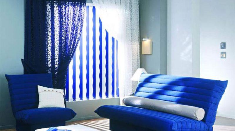 синий диван и кресло
