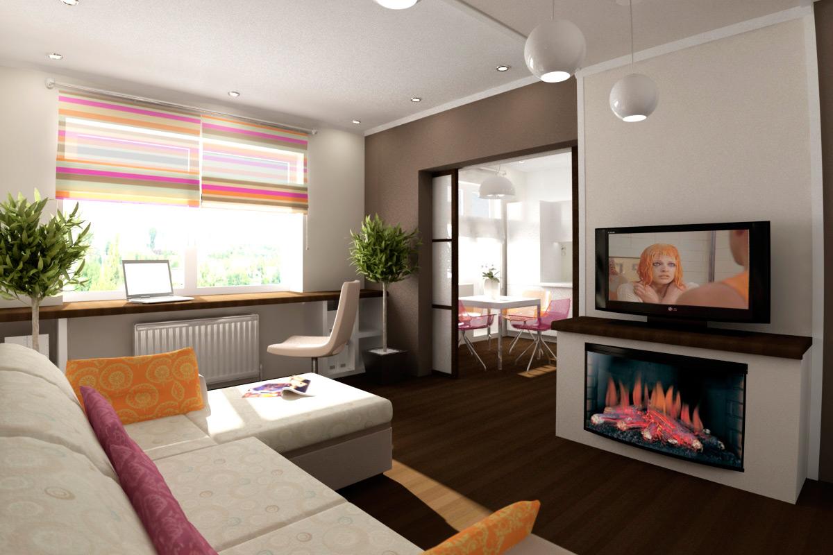 Дизайн проект 1 комнатной квартиры 40 кв.м фото