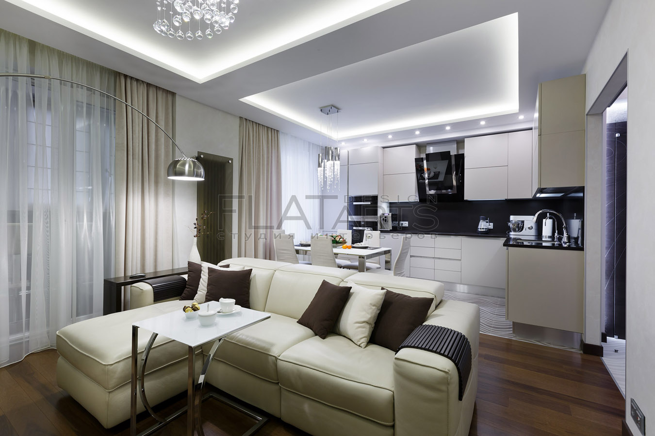Дизайн кухни совмещенной с гостиной фото 40 кв
