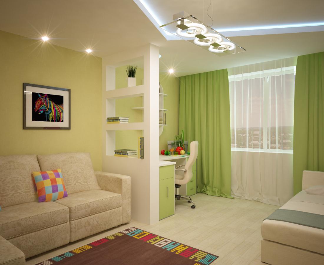 Дизайн гостиной-спальни-детской