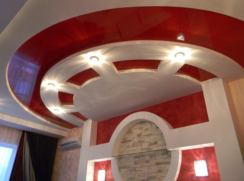 Дизайн потолков из гипсокартона: многоуровневые, с посветкой, декор