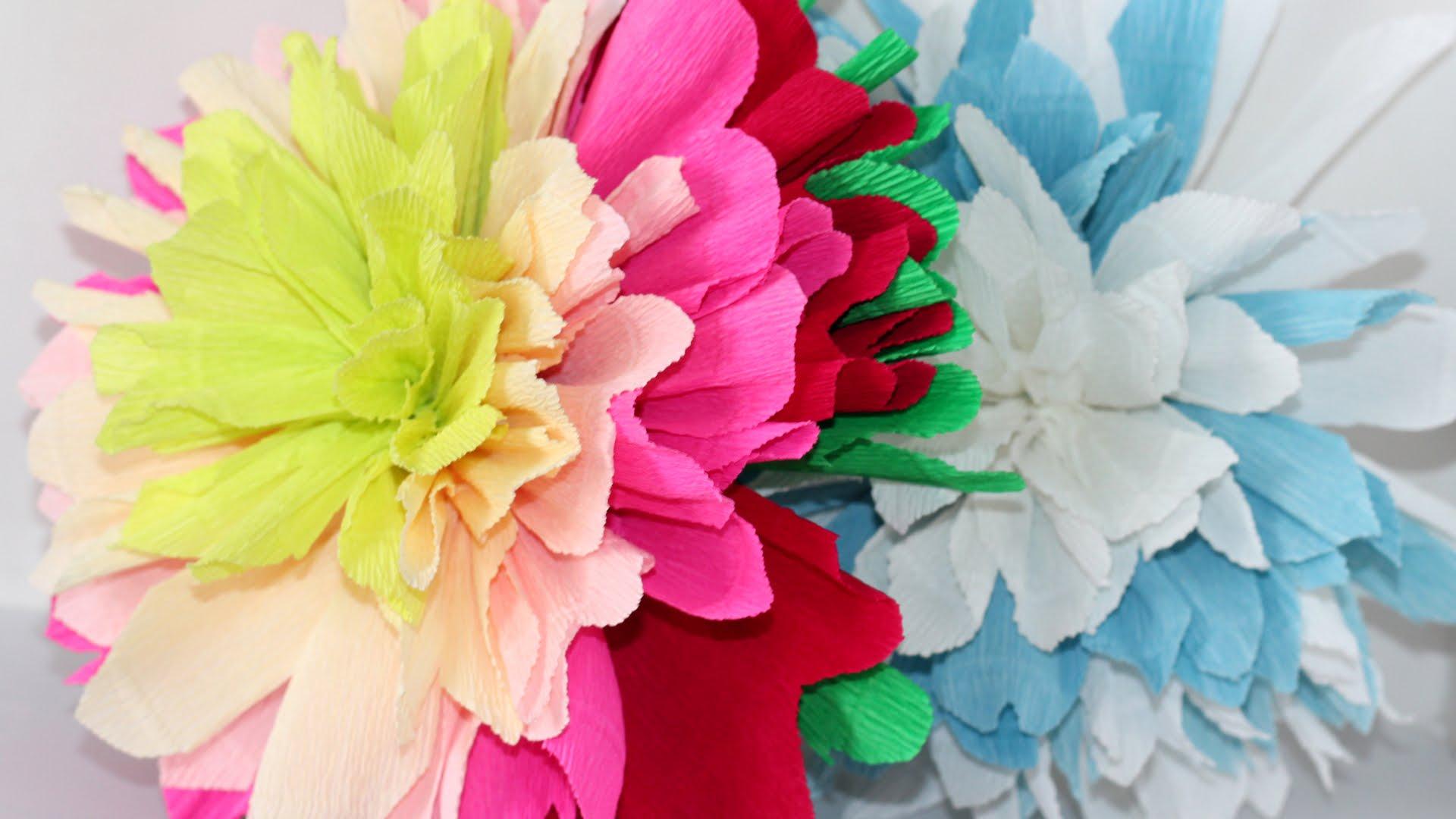 Цветы крупные из бумаги гофрированной бумаги