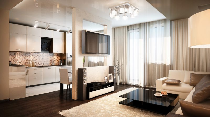 Дизайн гостиной совмещенная с кухня в квартире