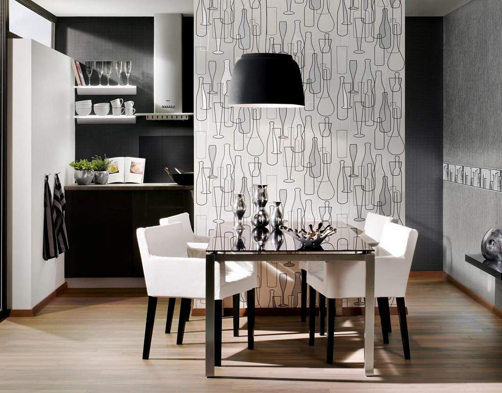 Фото дизайн стены у стола на кухне 161