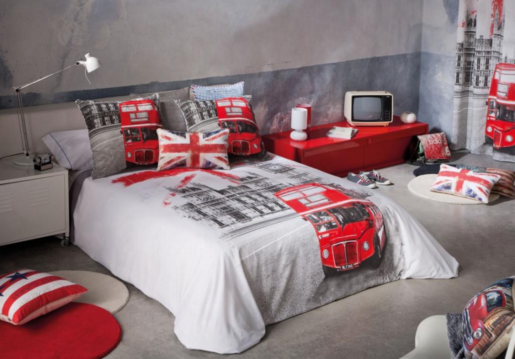 Идея для оформлении спальни в стиле Лондон