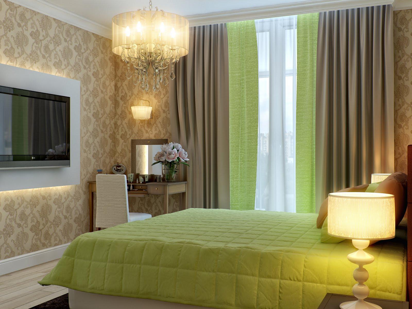 Фото интерьера спальни с зелеными шторами