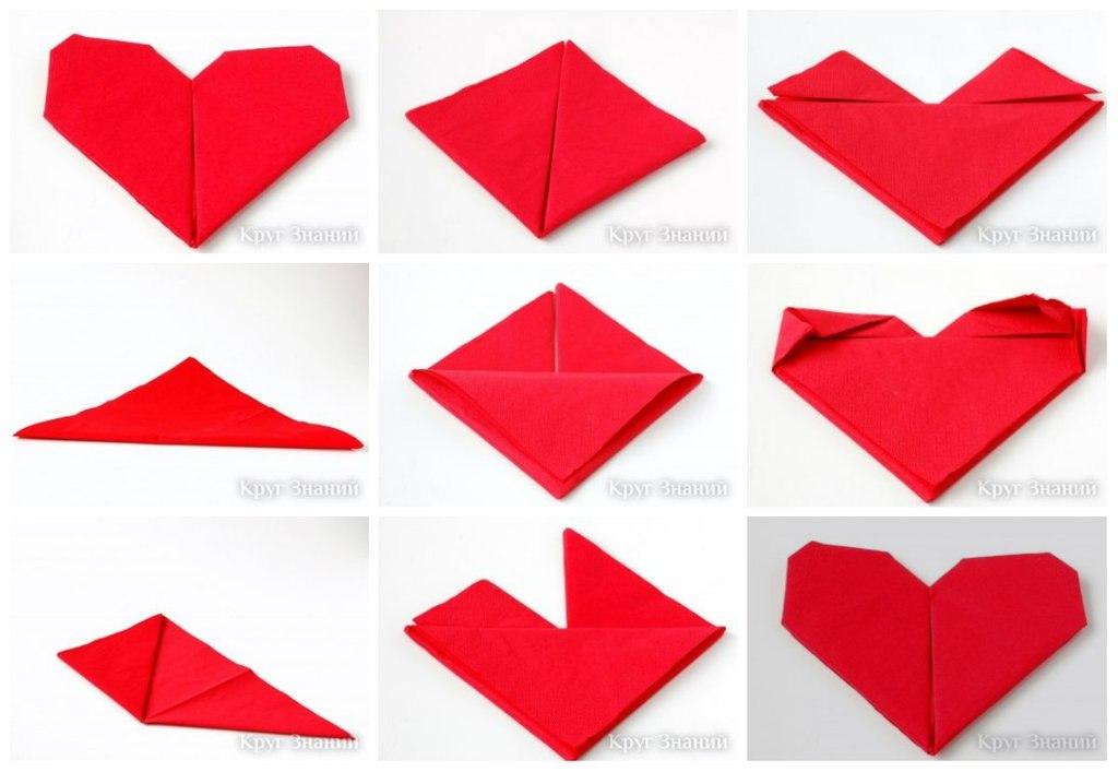 Как сделать сердечко из салфеток поэтапно