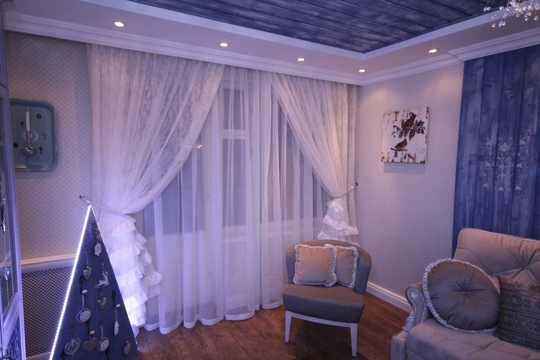 Дизайн из тюли в комнату