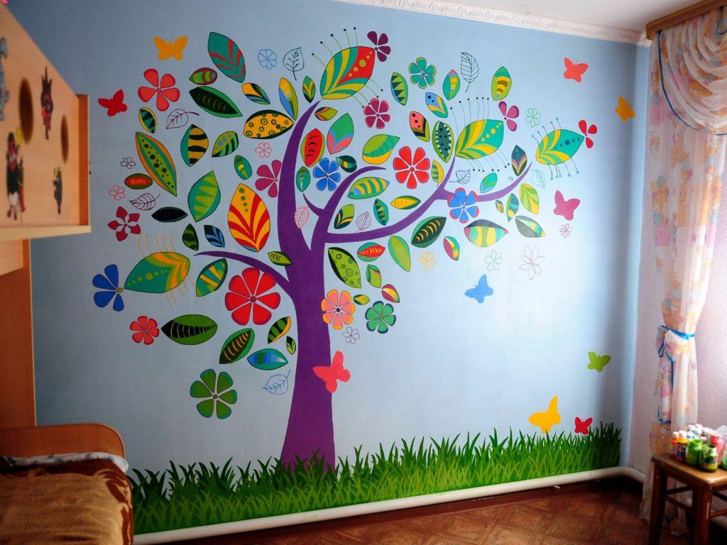 Рисунки на стенах для детской комнате своими руками