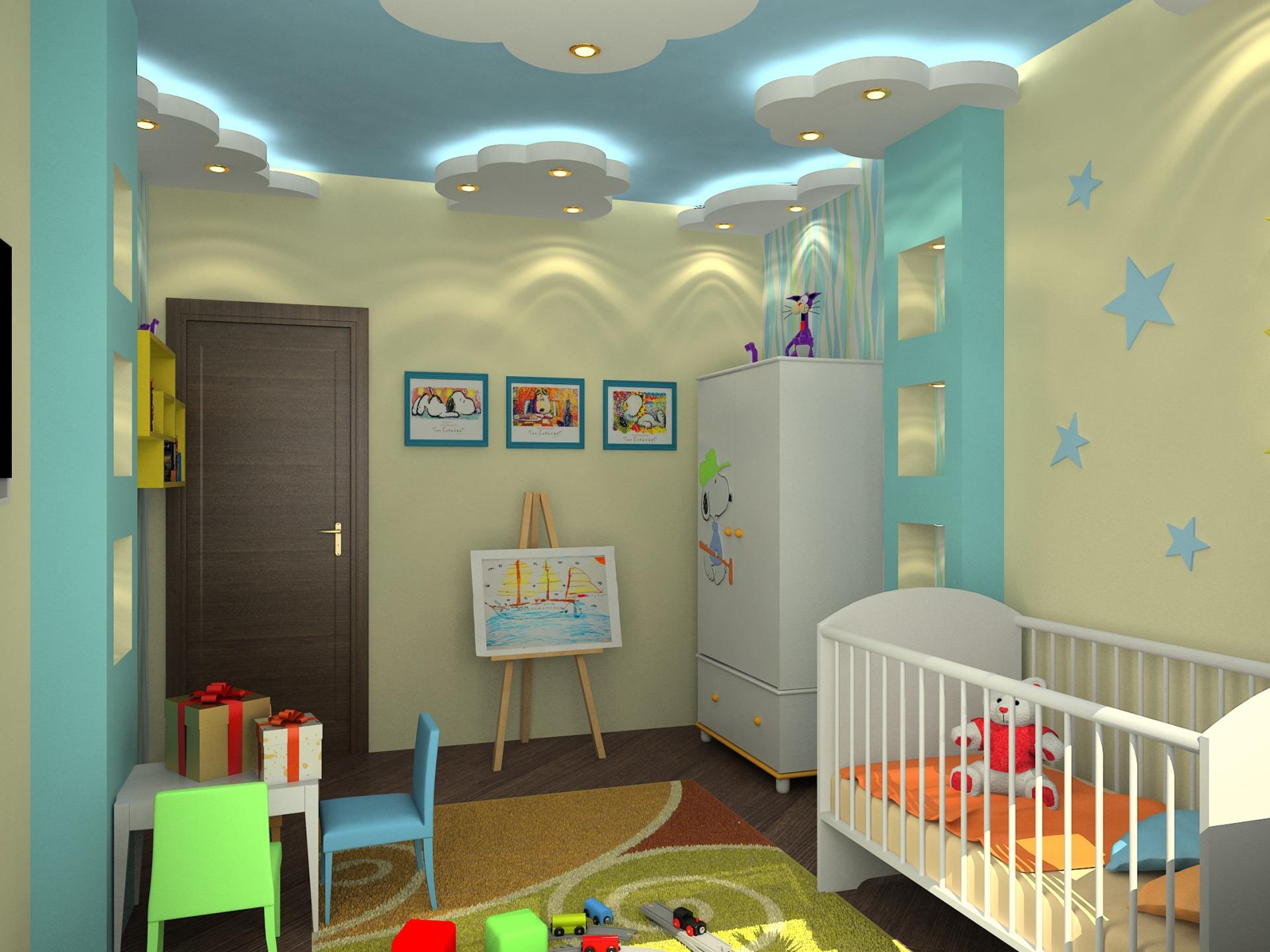 Дизайн потолков в детские комнаты
