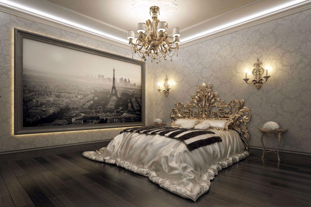 Черно-белый интерьер спальни