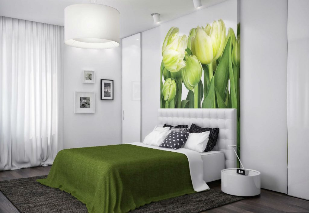 Фото интерьера спальни с фотообоями