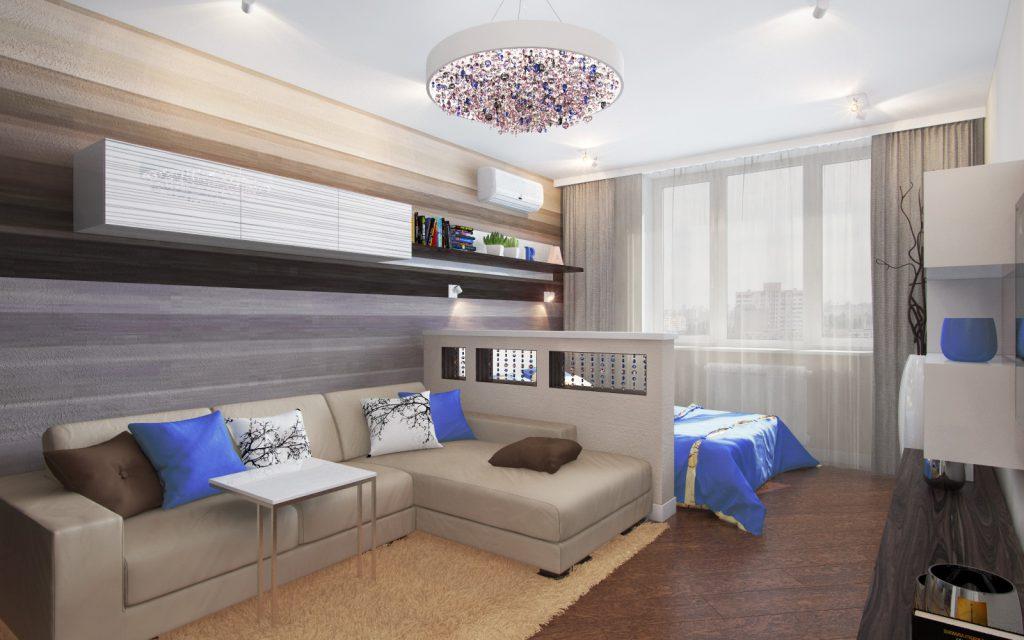 Интерьер спальни-гостиной 18 кв м