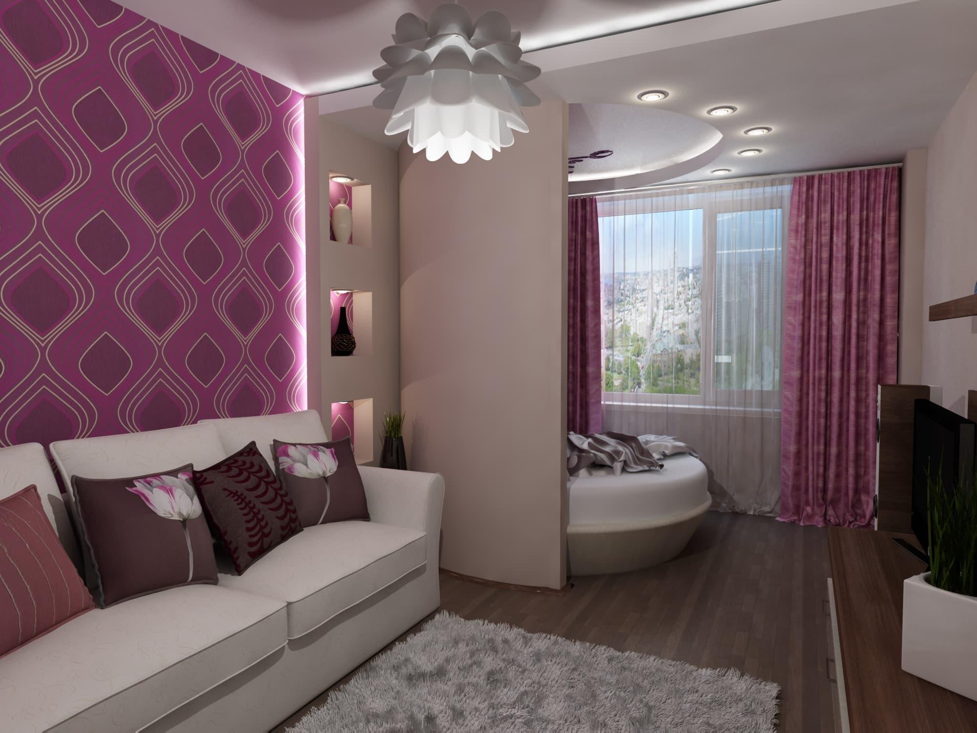 Интерьер спальни гостиной 18 кв м: зонирования, мебель и цве.