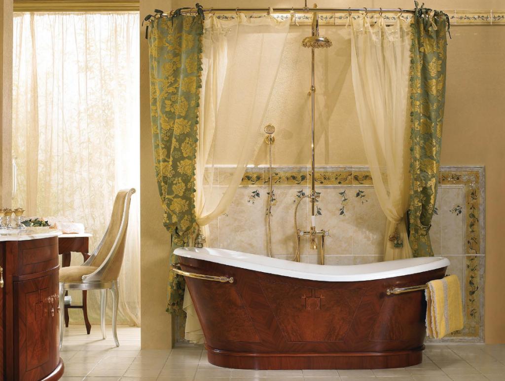 Ванна с занавесками в итальянском стиле
