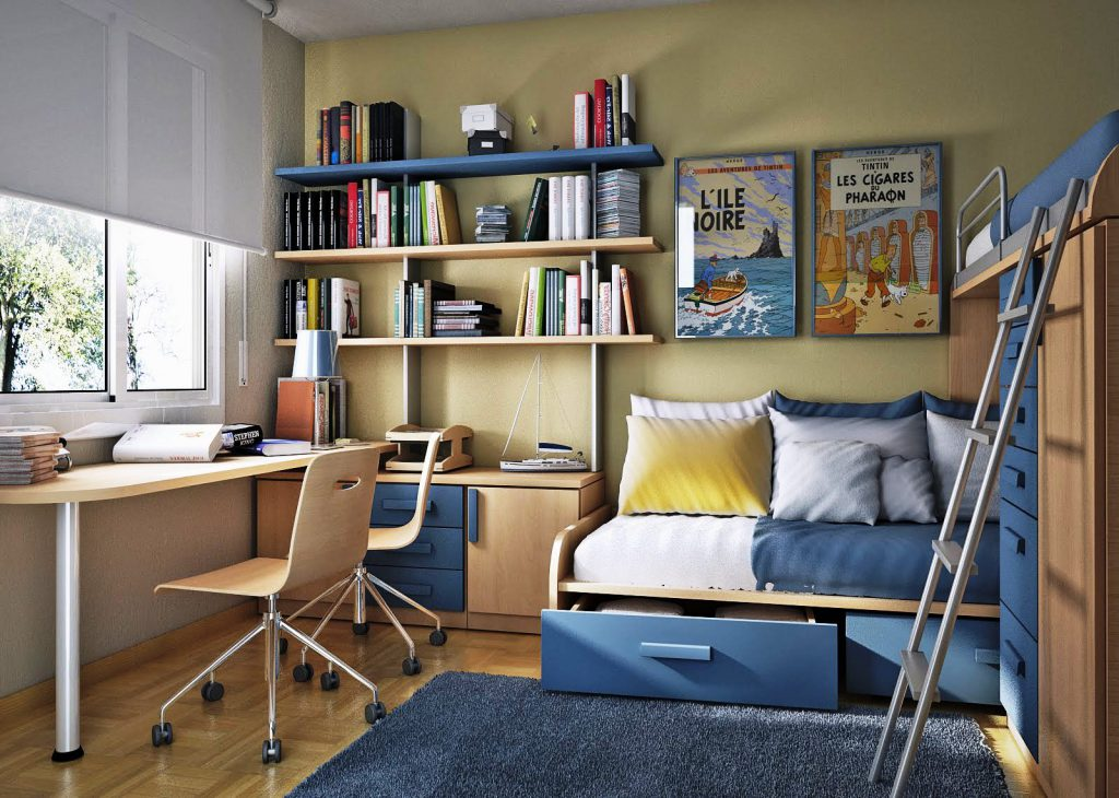Мебель в детской бежевого и синего цветов