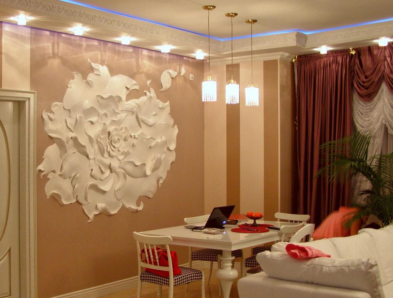 Объемные цветы на стене фото интерьера