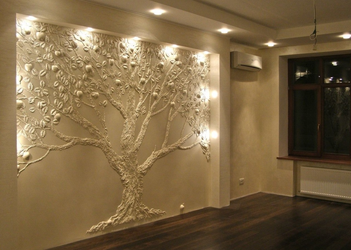 Объемное дерево своими руками на стене