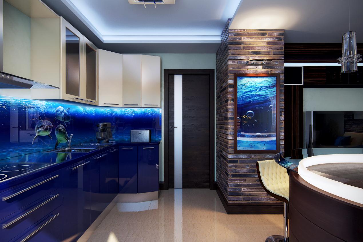 Стиль морской в интерьере кухни фото