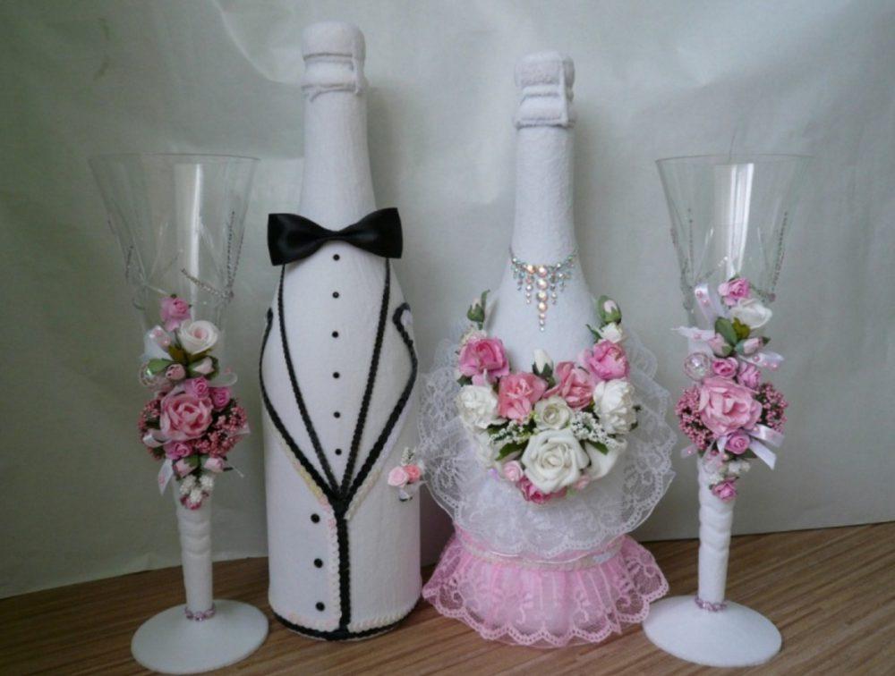 Как украсить бутылка шампанского на свадьбу своими руками 44
