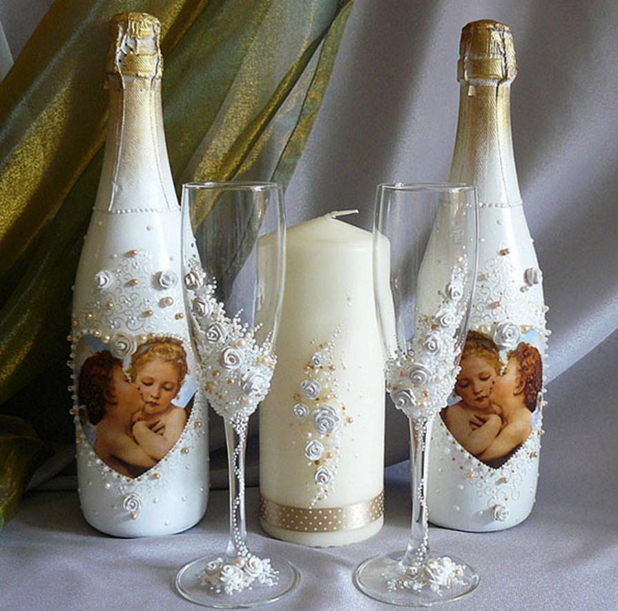 Свадебный декупаж шампанского и бокалов своими руками
