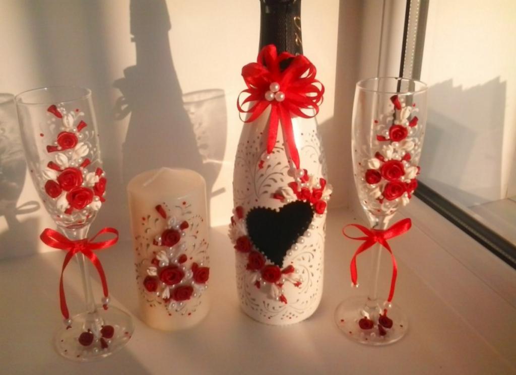 Оформление шампанского и бокалов