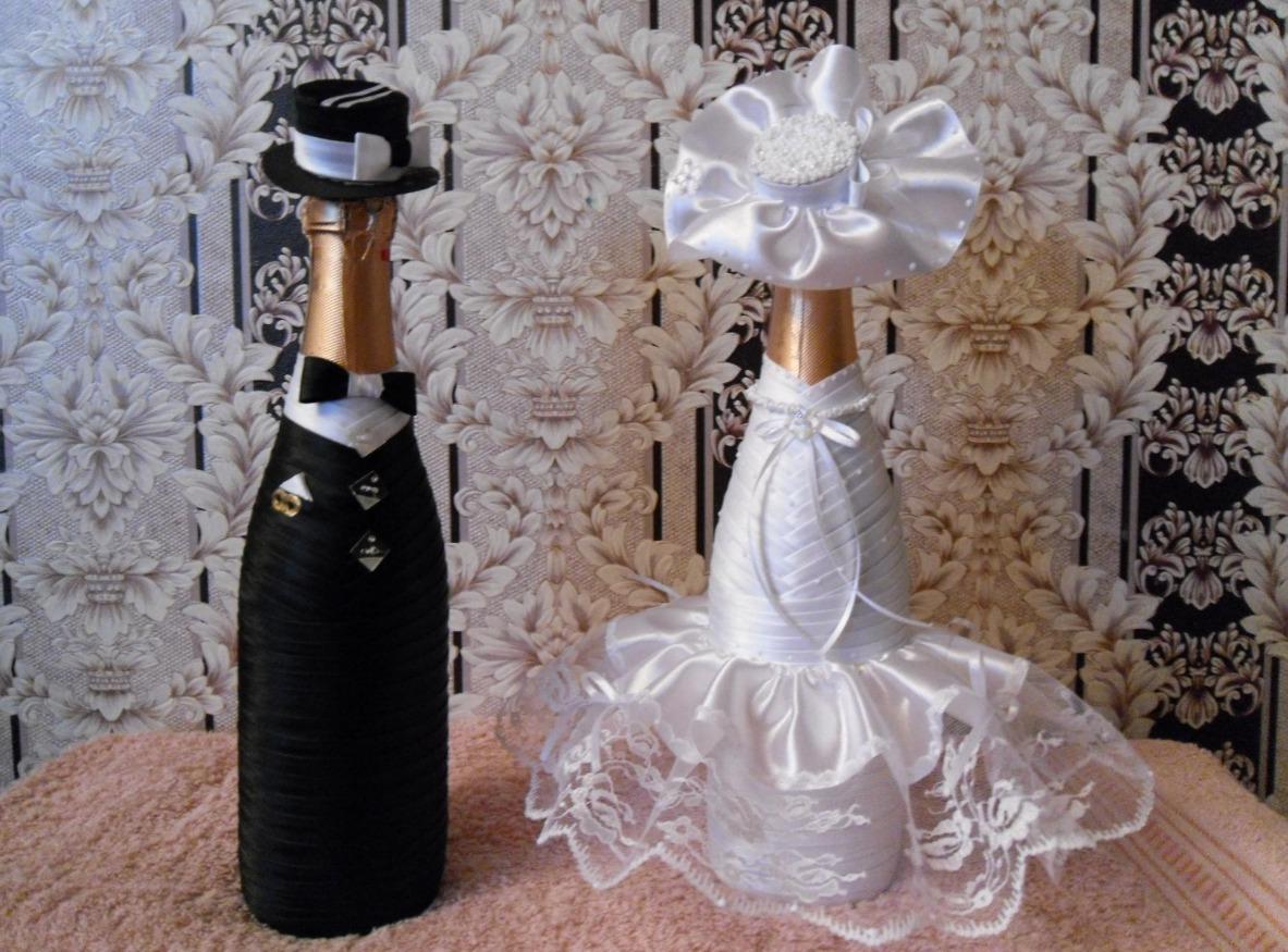 Свадебное оформление бутылок шампанского своими руками