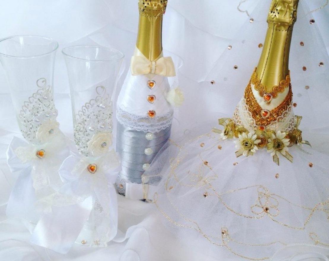 Как украсить бутылка шампанского на свадьбу своими руками 74