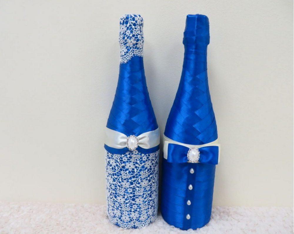 Оформление свадебной бутылки атласной лентой своими руками