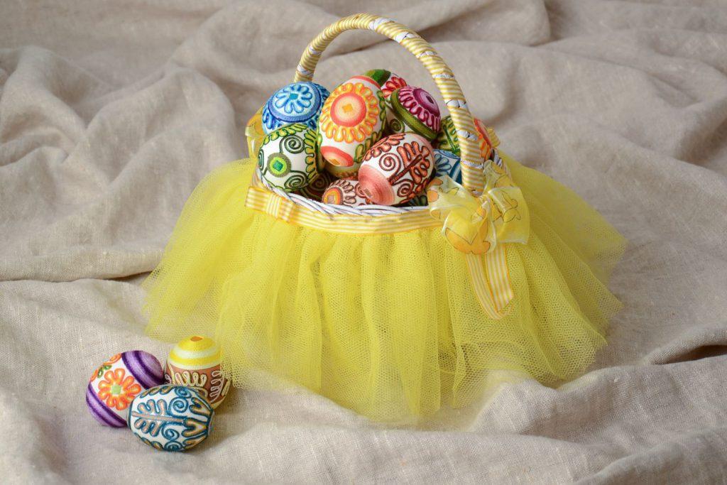 Самодельная корзинка для пасхальных яиц