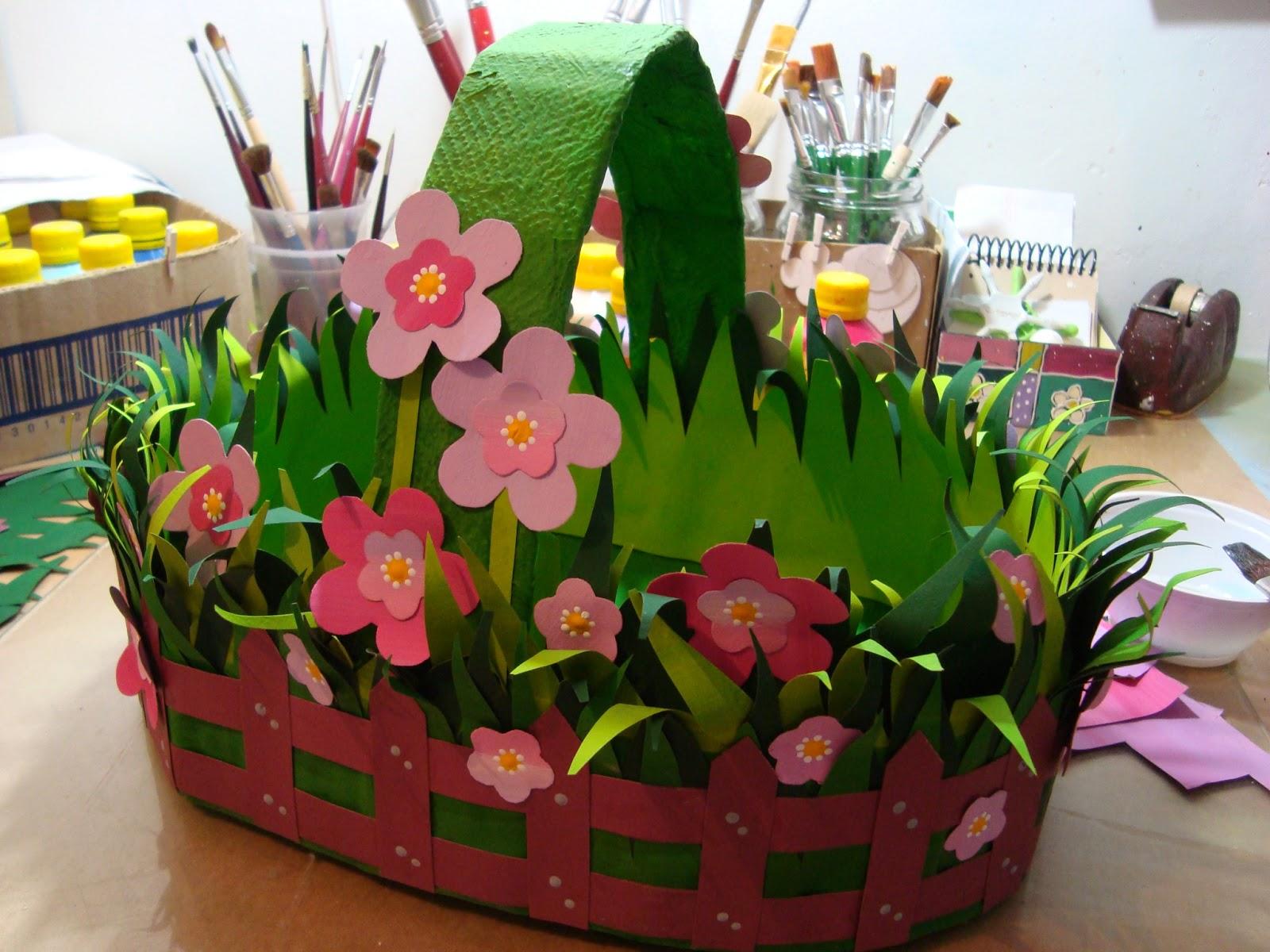 Корзинка с цветами своими руками из бумаги