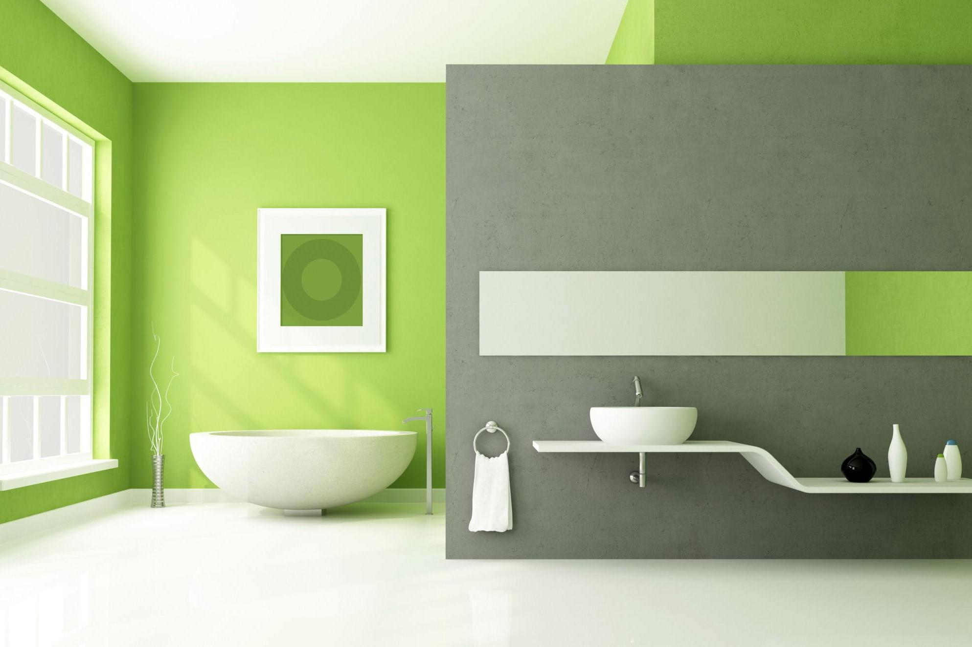 Green wallpaper for bathroom 2