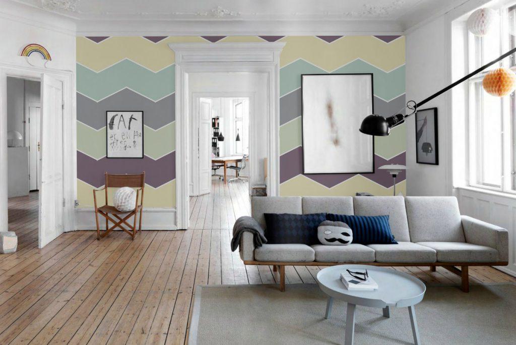 Покраска стен в два и более цвета