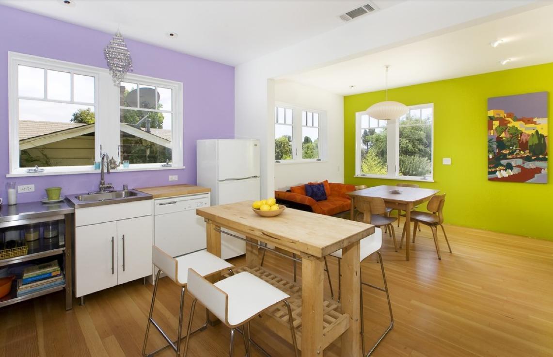 Стены разных цветов на кухне фото