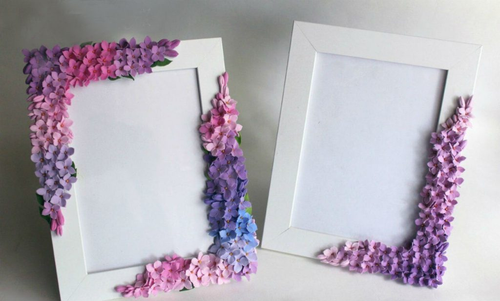 Фоторамка с цветами из ткани