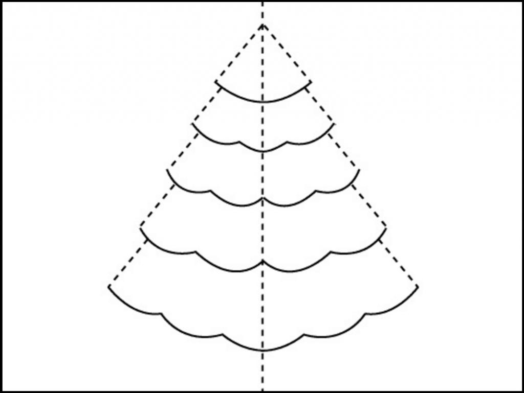 Шаблон для открытки с объемной елкой