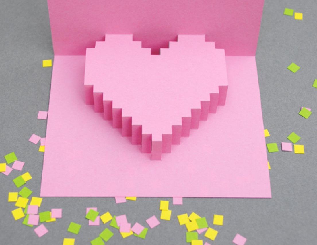 Открытки объёмные сердечки из 573