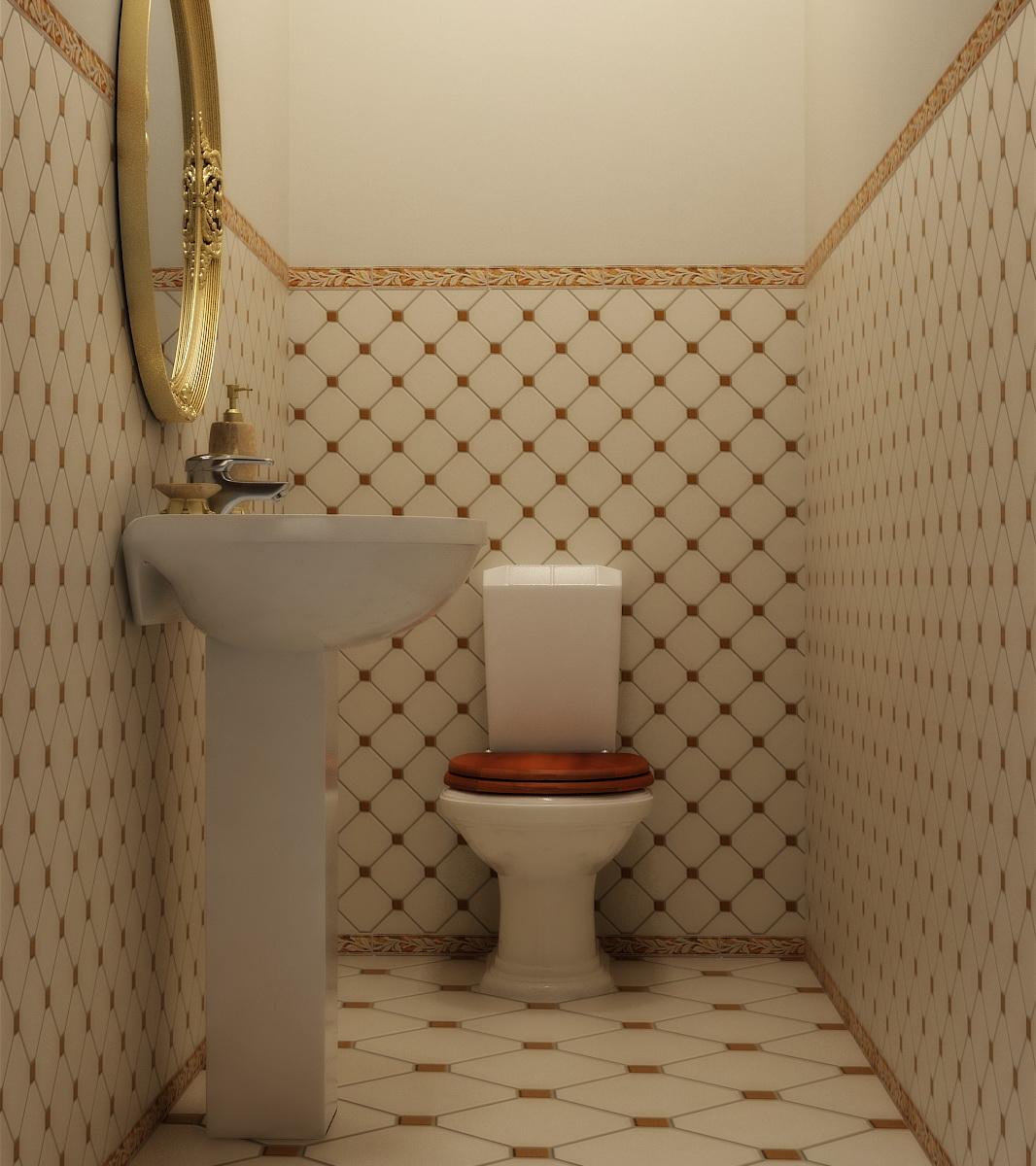 плитка и обои в туалете дизайн фото