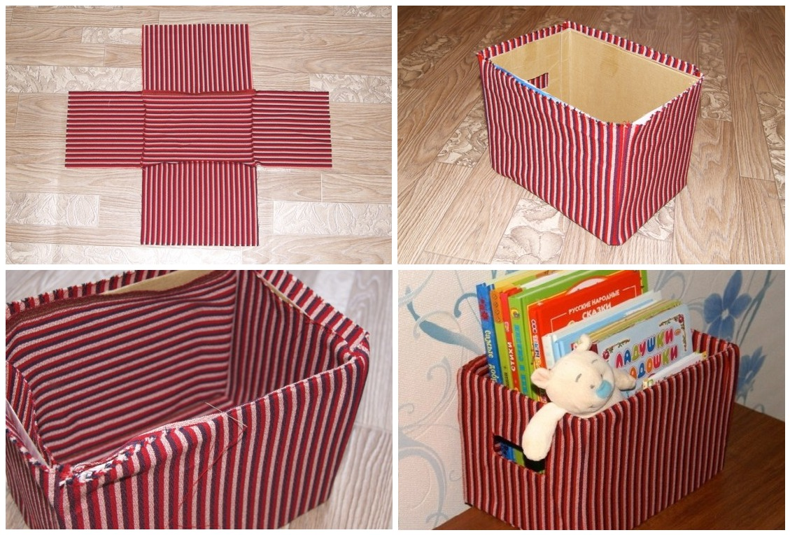Как обшить картонную коробку тканью своими руками под игрушки 88