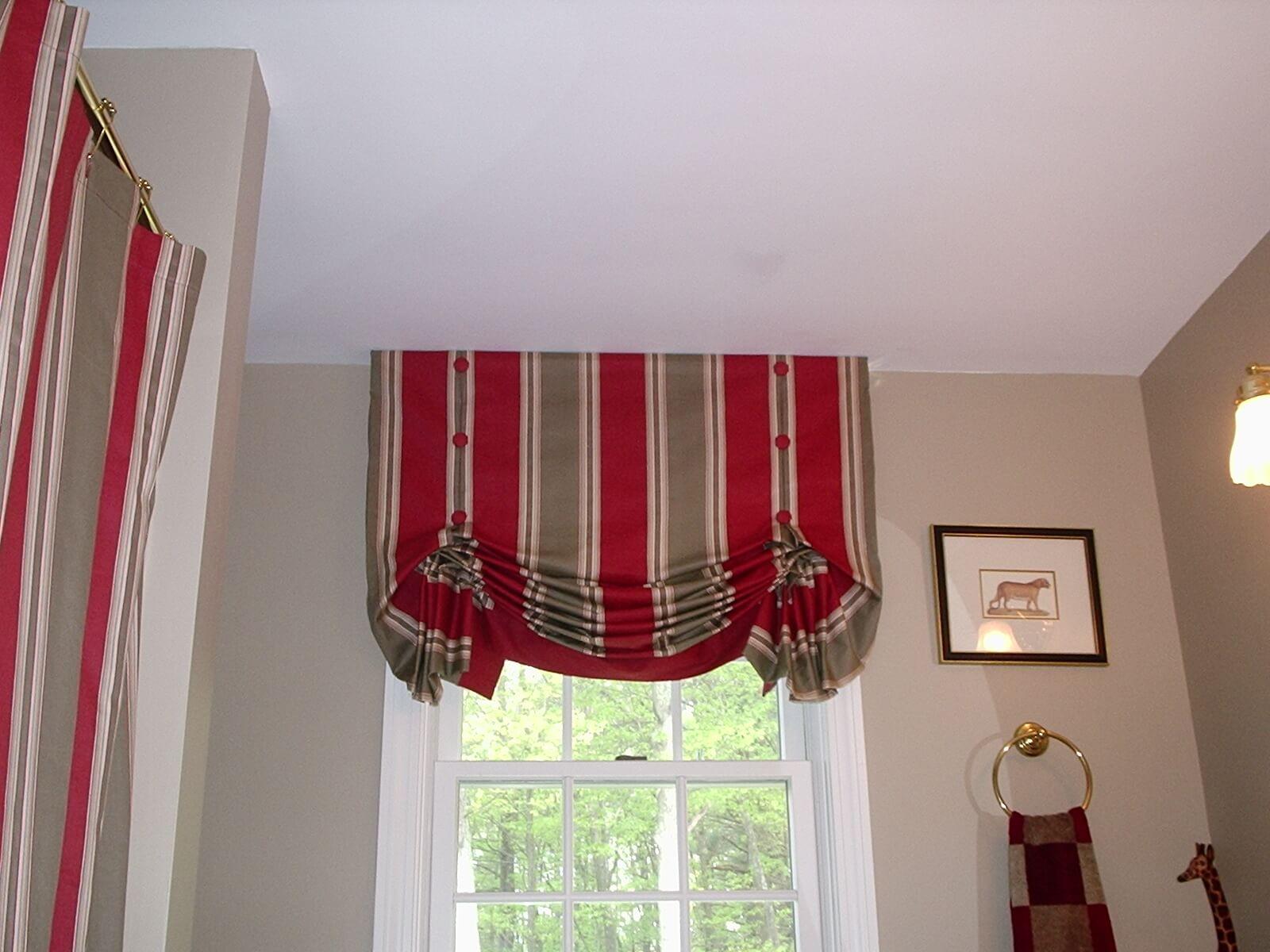 Как сшить шторы из ткани в полоску