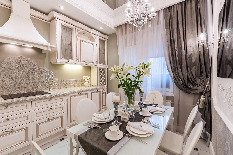 Классический дизайн штор в кухню