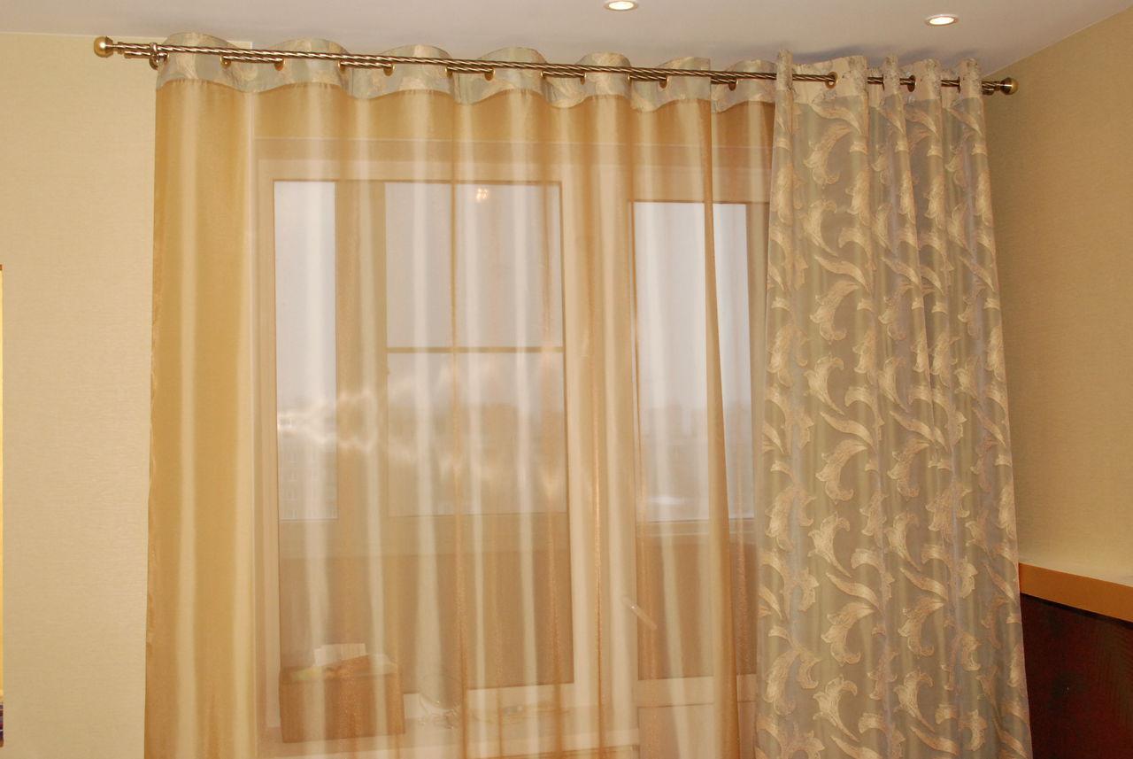 шторы на люверсах с тюлью для кухни фото