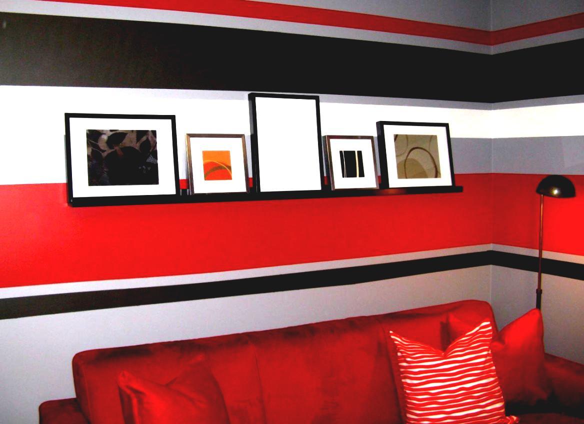 Окрашивание стены полосы