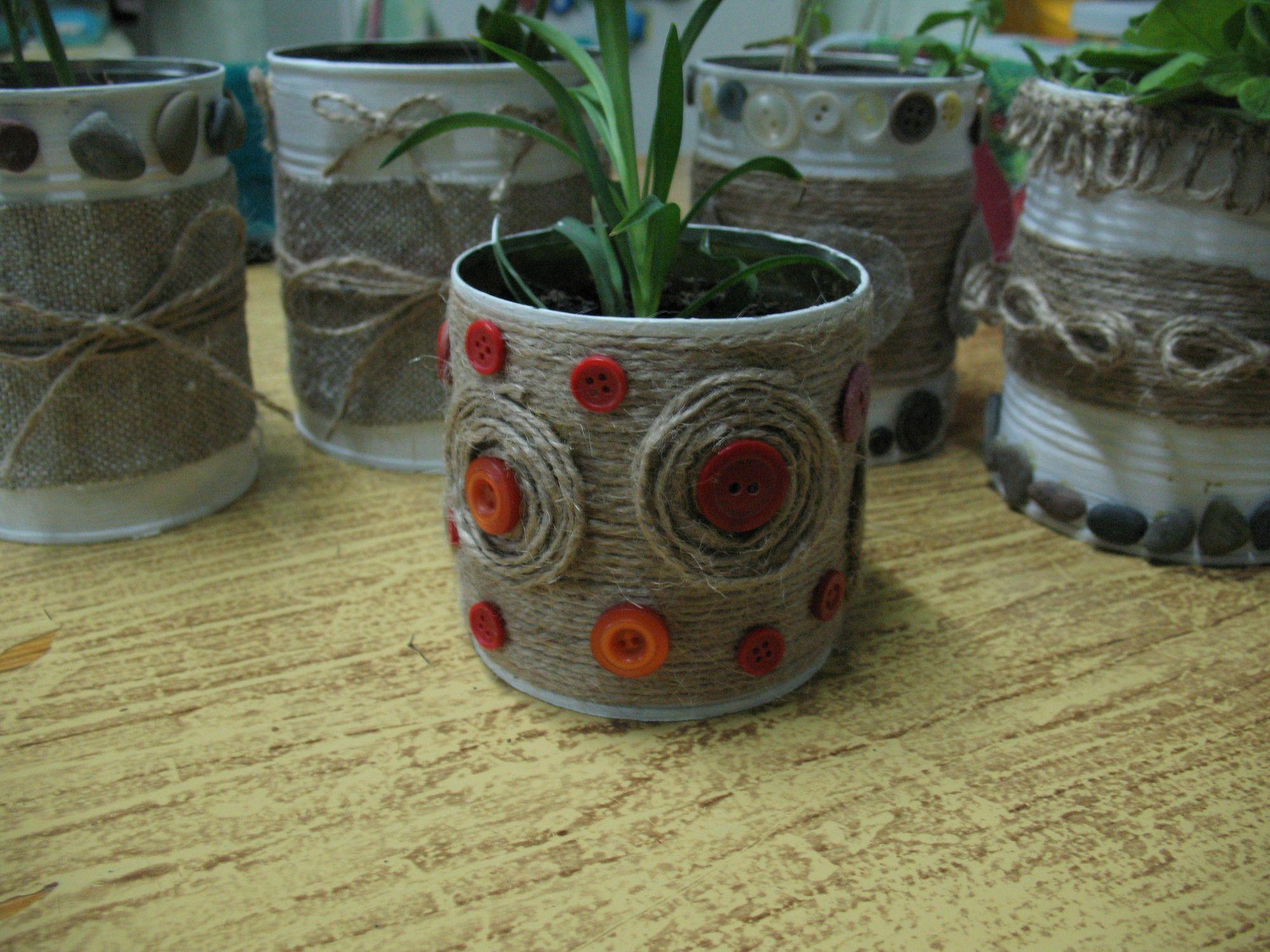 Цветочный горшок из жестяной банки - Поделки своими руками