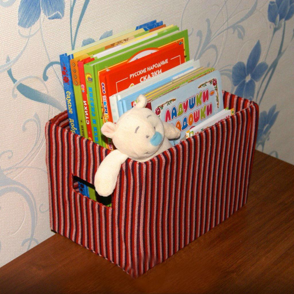 Как обшить картонную коробку тканью своими руками под игрушки 40