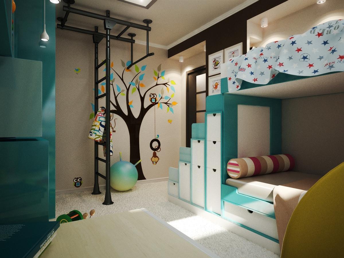 Фото дизайна детской комнаты для мальчика и девочки